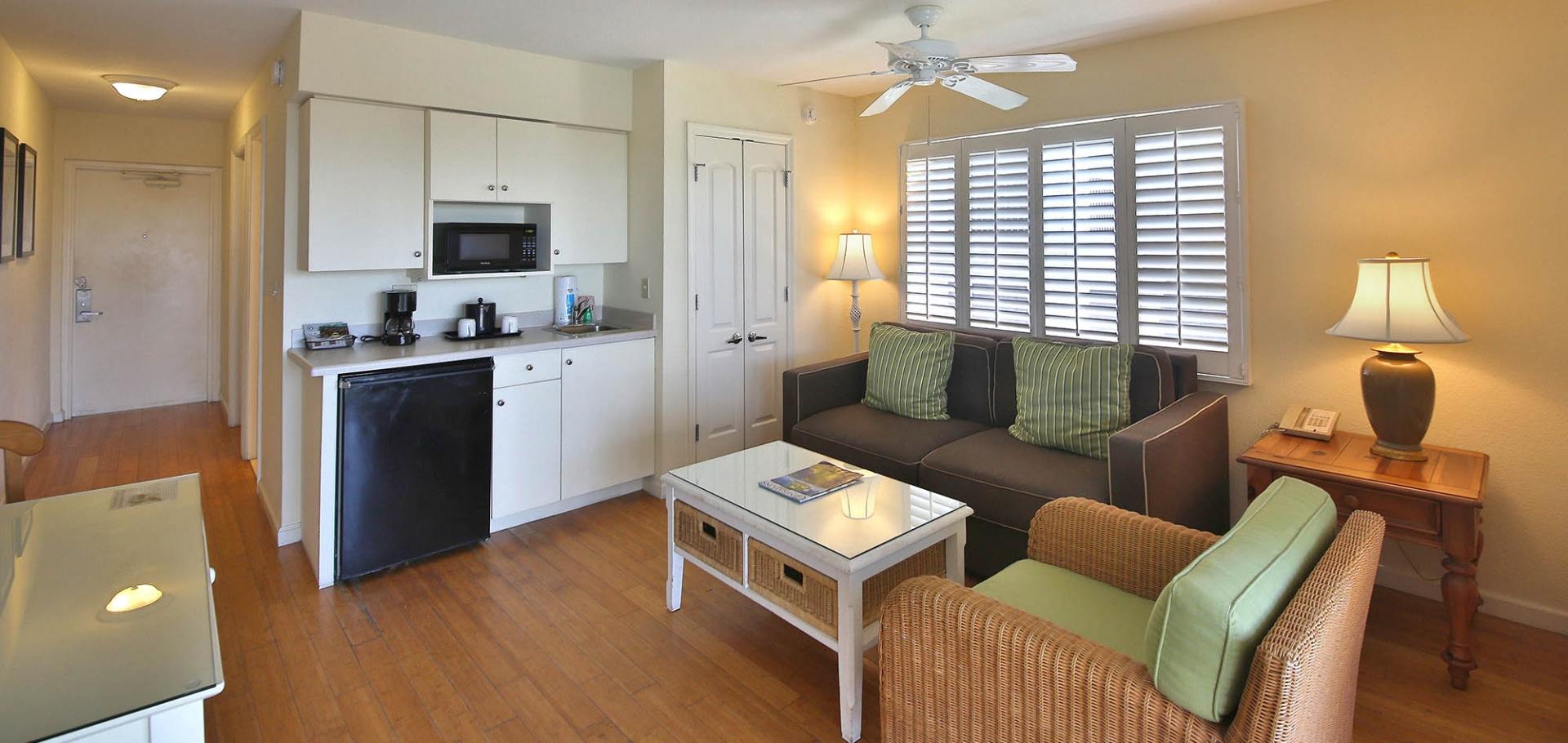 Sanibel Inn living area and kitchenette