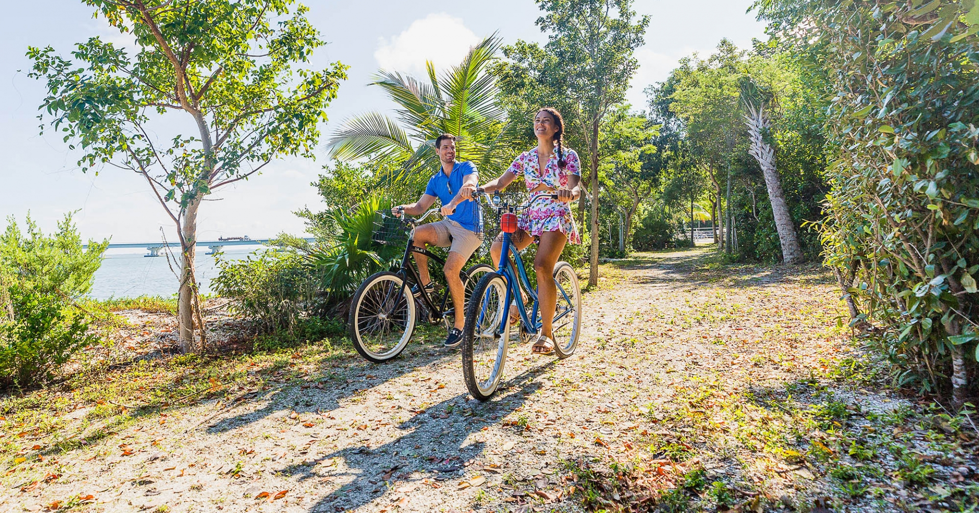 Couple cycling on Sanibel Island