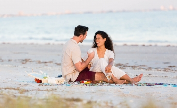 Couple on the beach at Sanibel Island
