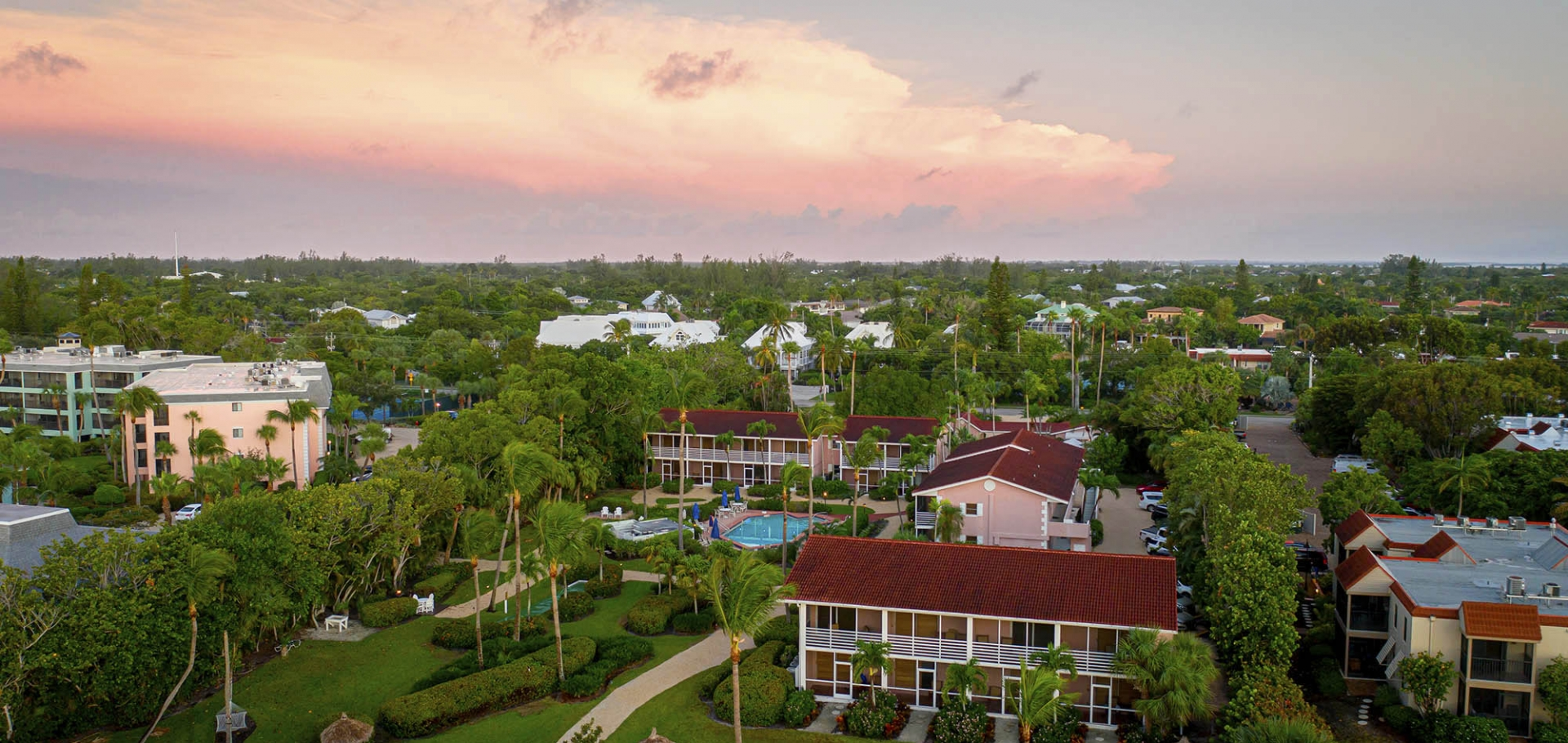 Aerial view of Sanibel's Song of the Sea Inn, a top-rated Sanibel Island resort
