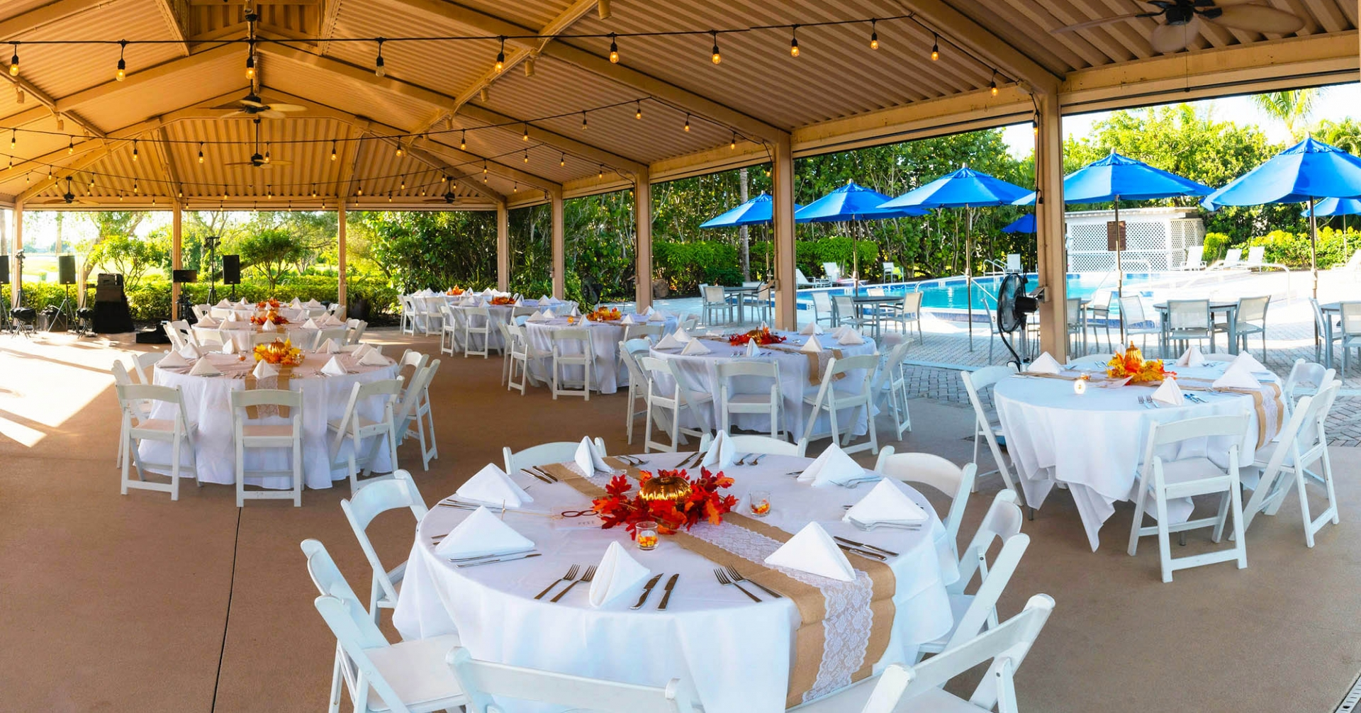Outdoor event dining at the Dunes